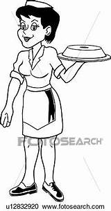 Waitress Clipart Clip Drawings Fotosearch sketch template