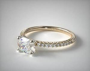 engagement rings pave 14k yellow gold petite pave With flush wedding rings
