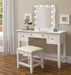 Nashville, 36, U0026quot, White, Makeup, Vanity, Table, And, Chair, U2013, Glam, Mirrors