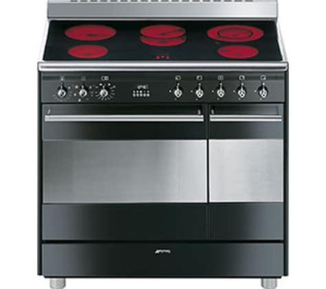 buy smeg concert 90 cm electric ceramic range cooker black stainless steel free delivery