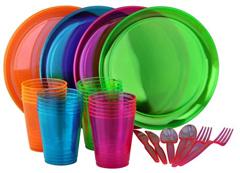 bright neon party set includes assorted colors  neon plates cups cutlery party supply