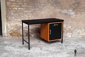 Bureau Metal Noir : bureau vintage plateau stratifi fenix noir pied m tal ~ Teatrodelosmanantiales.com Idées de Décoration