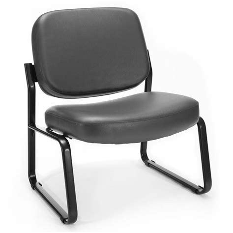 reception vinyl armless guest chair in charcoal 409 vam 604