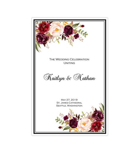wedding program template burgundy red blush pink
