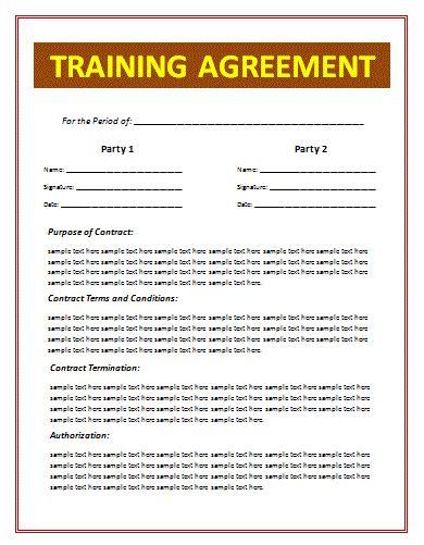 training agreement sample  word templates