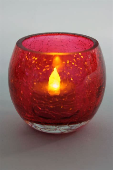 Cracked Glass Tea Light Holder Round Crackled Glass Candle