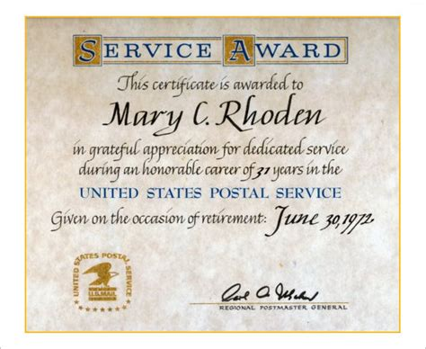 Certificate For Years Of Service Template by 9 Retirement Certificate Templates Doc Pdf Free
