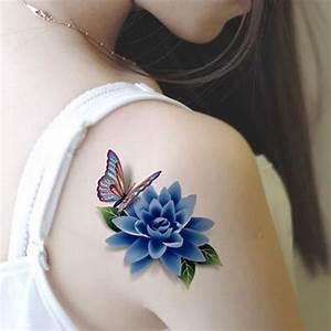 Colorful 3D Butterfly Flower Rose Tattoo Sticker ...