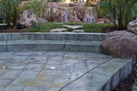 colored cement patio colored concrete changing textures tropical patio los angeles by spragues ready mix