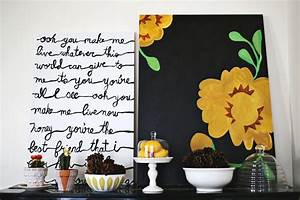 20 one afternoon craft ideas a beautiful mess for What kind of paint to use on kitchen cabinets for song lyric wall art