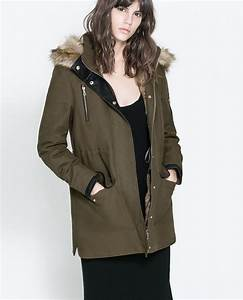 Zara Double Layer Parka in Green | Lyst