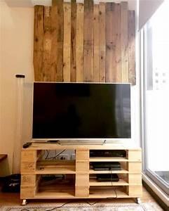 Petit Meuble Tele : 1001 id es meuble tv palette le recyclage en cha ne ~ Teatrodelosmanantiales.com Idées de Décoration