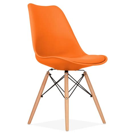 orange dining chair with dsw style wood legs modern