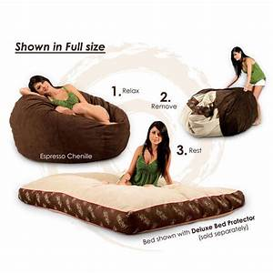 full size eggplant chenille bean bag converts to a bed With bean bag chair that converts into a bed