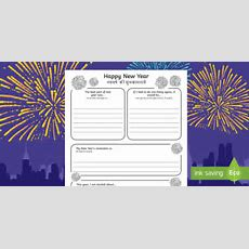 New Year's Resolutions Writing Frames Englishhindi  Frame, Template