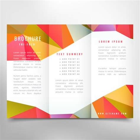Abstract Colorful Brochure Design Template Vector Tri Fold Colorful Trifold Brochure Design Free Vector