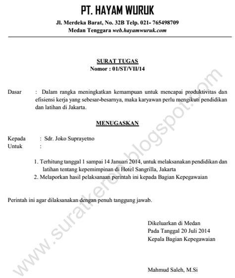 Contoh Surat Tugas Karyawan by Surat Tugas Diklat