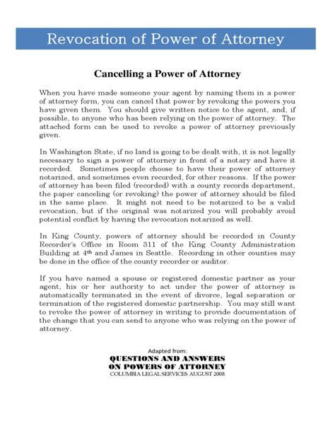 revocation of power of attorney form washington free