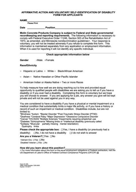 affirmative action  voluntary  identification