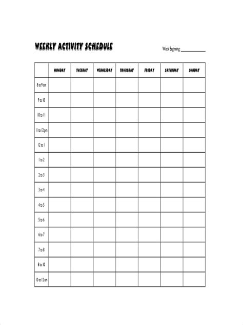 schedule examples    xls examples