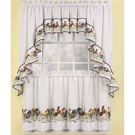 farmhouse country kitchen curtain valances rooster