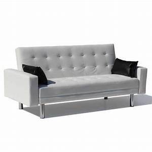 Canapé 2 Places Simili Cuir : canap lit en simili cuir avec accoudoirs et oreillers ~ Teatrodelosmanantiales.com Idées de Décoration