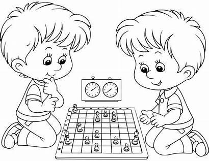 Chess Ajedrez Coloring Playing Boys Colorear Para