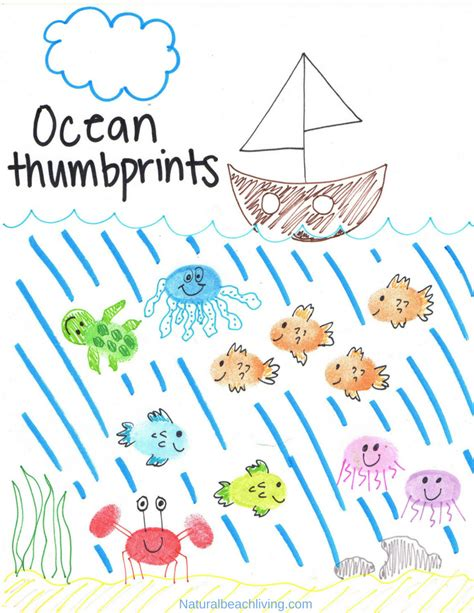 thumbprint animals with theme printables 356 | Ocean thumbprints activities