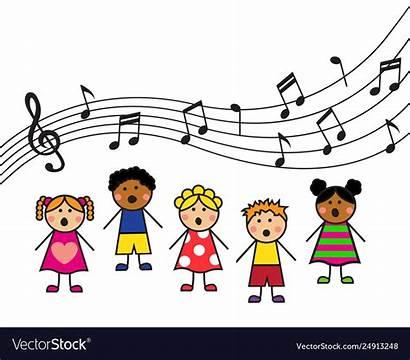 Sing Cartoon Children Song Vector Illustration Treble