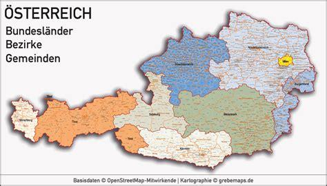 austria oesterreich vektorkarte bundeslaender bezirke