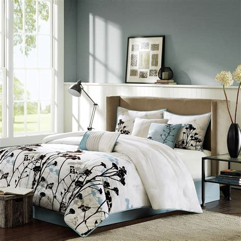 madison park matilda pale blue floral 7 piece comforter