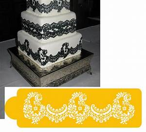 alencon lace bottom tier cake stencil With lace templates for cakes