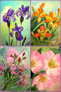 aceo size flower paintings watercolors  nature