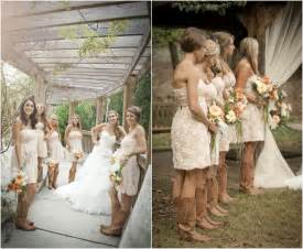 country wedding bridesmaid dresses rustic wedding with bridesmaids in cowboy boots rustic wedding chic