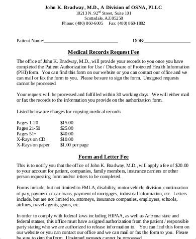 sample medical records request form  exam ples  word