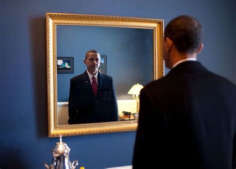 File:Barack Obama takes one last look in the mirror ...