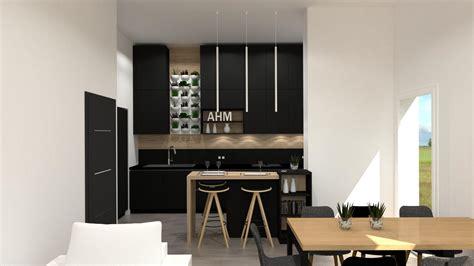 cuisiniste rouen cuisine moderne îlot noir et bois cuisiniste