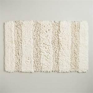 Ivory hi low shag bath mat world market for Bathroom carpet top view