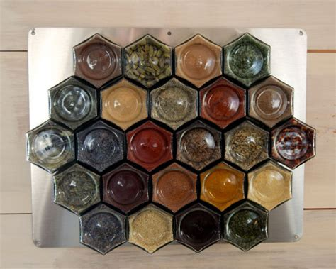 Unfilled Spice Rack by The Apiary Upcycled Hexagonal Honey Jar Spice Rack