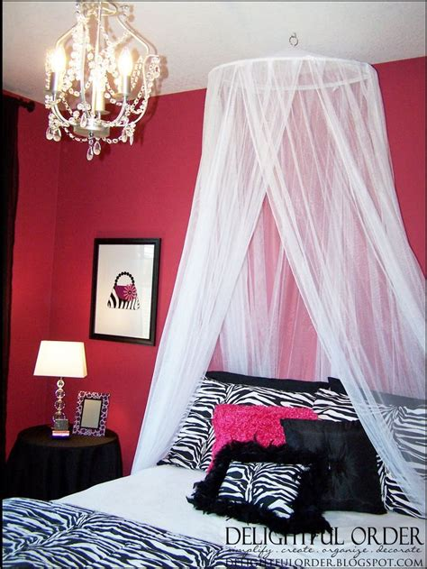 pink zebra room ideas for teens the bed canopy came from