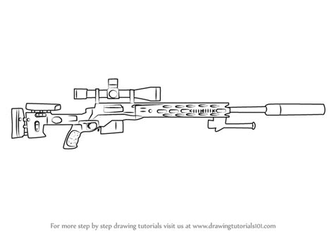 Learn How To Draw A M2010 Enhanced Sniper Rifle (rifles