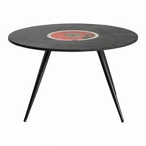Table Basse Noire Ronde : table basse ronde vintage noire d 70 cm vinyl maisons du monde ~ Teatrodelosmanantiales.com Idées de Décoration