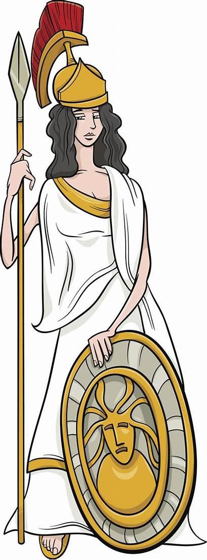 Greek Athena Cartoon Goddess Gods Goddesses Symbols