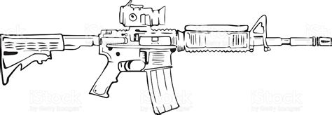 M16 Rifle Comic Style Drawing Stock Vector Art & More ...