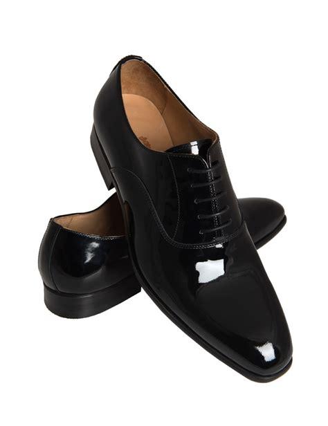 mens black patent lace  dress shoe hawes curtis