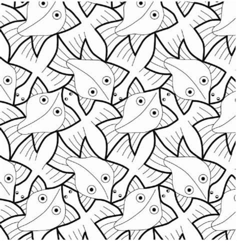 Escher Vogel Kleurplaat by Escher Vis En Vogel School Tekenen Patronen Kunst