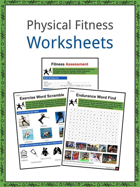 physical fitness facts worksheets information  kids