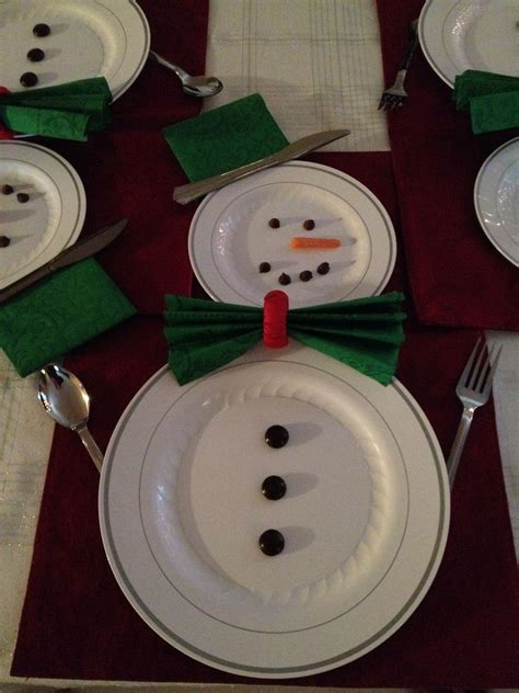 Snowman Table Decorations - happy snowman table setting