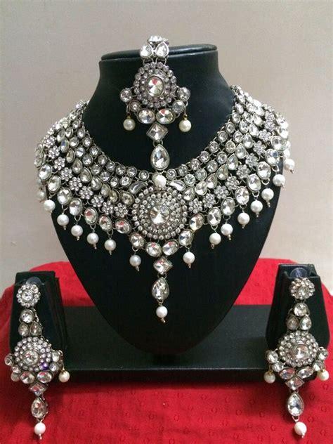 indian bollywood style diamante kundan pearl rhodium
