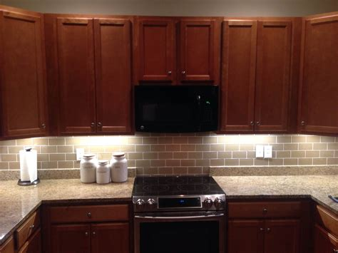 Kitchen Backsplash And Subway Tile by Chagne Glass Subway Tile Home Kitchen Cabinets